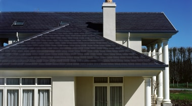 View of the home's roofing - View of building, daylighting, elevation, estate, facade, home, house, property, real estate, residential area, roof, siding, window, black, blue