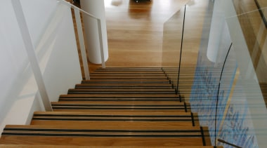 Pale hardwood floors from Ironwood Australia were used architecture, daylighting, floor, flooring, handrail, hardwood, interior design, laminate flooring, stairs, wood, wood flooring, gray, brown