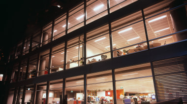 Exterior view of the 30 The Bond office architecture, building, facade, metropolitan area, mixed use, night, black
