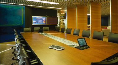 Large timber meeting room table with chairs, large auditorium, conference hall, interior design, office, brown, black