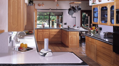 View of this traditional kitchen - View of cabinetry, countertop, cuisine classique, home, interior design, kitchen, room, gray, brown