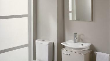 View of this modern bathroom - View of bathroom, bathroom accessory, bathroom cabinet, bathroom sink, bidet, ceramic, floor, interior design, plumbing fixture, product design, room, sink, tap, toilet, toilet seat, gray, white