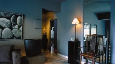 Living room with grey marble floor tiles, grey ceiling, floor, home, interior design, lighting, living room, real estate, room, wall, teal, black