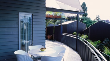 exterior view of deck and living area - apartment, architecture, balcony, home, house, outdoor structure, real estate, roof, shade, black, white