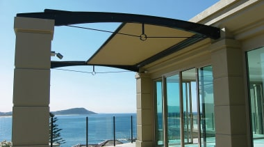 exterior view of patio and sunscreen - exterior daylighting, outdoor structure, roof, shade, structure, window, teal