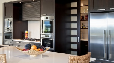 Interior view of this modern home - Interior cabinetry, countertop, cuisine classique, home appliance, interior design, kitchen, black, white