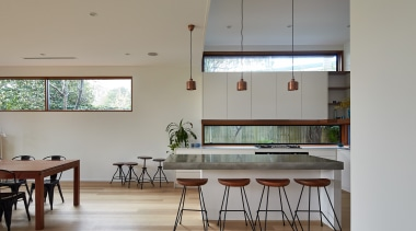 01 Step Down House - architecture | ceiling architecture, ceiling, classroom, daylighting, furniture, house, interior design, room, table, gray
