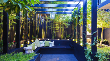 Dark finishings contrast with the various plants in backyard, garden, grass, green, leaf, majorelle blue, plant, tree, blue