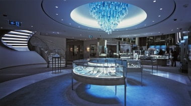 Here is a view of Glasshape's curved glass architecture, ceiling, interior design, lighting, lobby, blue