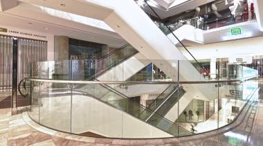 The new Rundle Place retail centre in Adelaide building, glass, handrail, interior design, lobby, real estate, shopping mall, gray