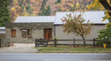 Traditional materials meet contemporary design  this new cottage, facade, farmhouse, home, house, log cabin, plant, property, real estate, residential area, tree, gray