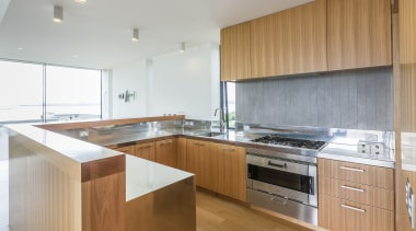 Modern kitchen with Tasmanian ash veneer and stainless cabinetry, countertop, hardwood, interior design, kitchen, property, real estate, wood, gray