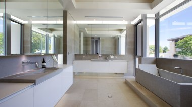There is no compromise in this master suite architecture, countertop, daylighting, floor, interior design, kitchen, real estate, sink, gray