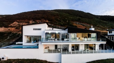 This seaside home by architect Stephan Meijer sits architecture, home, house, property, real estate, villa, black, white
