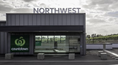 Countdown supermarket at NorthWest Shopping Centre benefits from infrastructure, gray, white, black