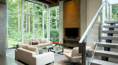 Placing the main living space at the rear architecture, daylighting, home, house, interior design, living room, window, gray