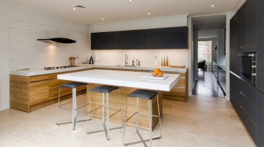 This kitchen doesnt have just one eye-catching feature countertop, floor, flooring, interior design, kitchen, real estate, room, gray