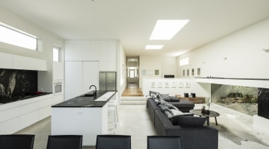 On entering the villas front door, the sightline architecture, daylighting, house, interior design, living room, property, real estate, white