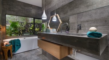 This tub is placed under a picture window architecture, countertop, house, interior design, real estate, gray, black