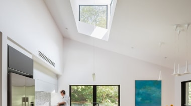Walls and a flat low ceiling were removed, architecture, ceiling, daylighting, home, house, interior design, interior designer, living room, real estate, window, gray, white