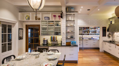 Ceiling beams were introduced together with traditional 1890s countertop, interior design, kitchen, room, gray, brown
