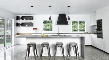 To replace their dark and oppressive existing kitchen, countertop, interior design, kitchen, white