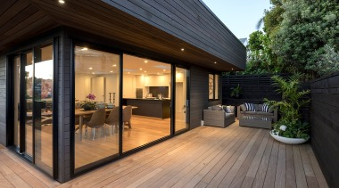 Expansive decking and new slatted timber cladding make architecture, building, deck, design, facade, floor, hardwood, home, house, interior design, property, real estate, roof, room, siding, window, wood, wood flooring, wood stain, black