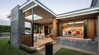 Read the full story architecture, backyard, building, courtyard, design, estate, facade, grass, home, house, interior design, landscaping, patio, property, real estate, residential area, roof, siding, yard, brown, white