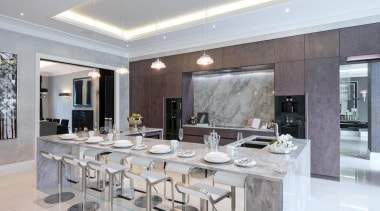 The kitchen has to work hard as a ceiling, dining room, interior design, kitchen, real estate, table, gray