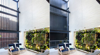 78580_louvretec-new-zealand-ltd_1556755573 - apartment | architecture | balcony | apartment, architecture, balcony, building, ceiling, condominium, courtyard, daylighting, design, facade, floor, furniture, home, house, interior design, living room, loft, property, real estate, roof, room, wall, white