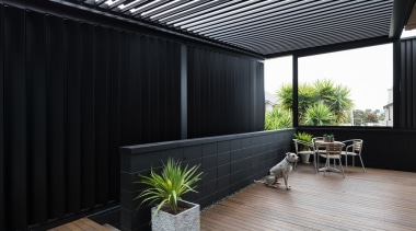 78580_louvretec-new-zealand-ltd_1556755675 - architecture | balcony | building | architecture, balcony, building, ceiling, courtyard, deck, design, facade, floor, flooring, furniture, hardwood, home, house, interior design, living room, plant, property, real estate, roof, room, shade, wall, wood, black