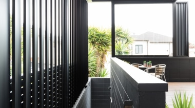 78580_louvretec-new-zealand-ltd_1556757041 - architecture | balcony | building | architecture, balcony, building, courtyard, daylighting, facade, home, house, interior design, room, black, white