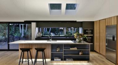 Front view countertop, interior design, kitchen, gray, black