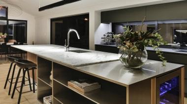 Half Moon Bay - countertop | interior design countertop, interior design, kitchen, table, gray, black
