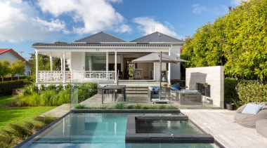Read the full story architecture, backyard, building, design, estate, facade, home, house, interior design, mansion, property, real estate, reflecting pool, residential area, roof, swimming pool, tree, vacation, villa
