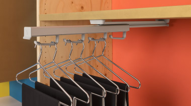 Ambos Pull Out Hanger Rack mounts under shelves angle, furniture, red