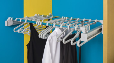 PULL OUT HANGER UNITHanger system combined with pull blue, clothes hanger, line, product, teal