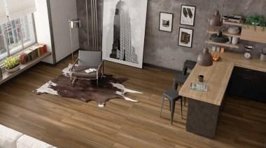 The Atelier range of glazed porcelain tiles emulates floor, flooring, furniture, hardwood, interior design, laminate flooring, living room, table, wood, wood flooring, brown