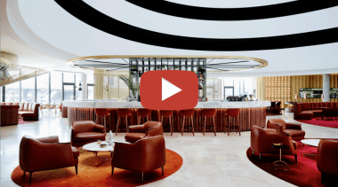 Bates Smart Hotel video button - architecture | architecture, building, ceiling, chair, design, floor, flooring, furniture, house, interior design, living room, lobby, office, property, room, table, white, red