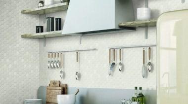 Beton Still Cotton Candy Hex Mosaic countertop, interior design, kitchen, shelf, wall, white, gray