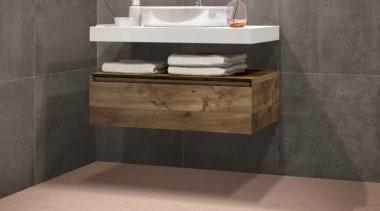 Beton Still Rosy Blush Hex Mosaic bathroom, bathroom accessory, bathroom cabinet, bathroom sink, ceramic, drawer, floor, flooring, plumbing fixture, sink, tap, tile, wall, gray, orange
