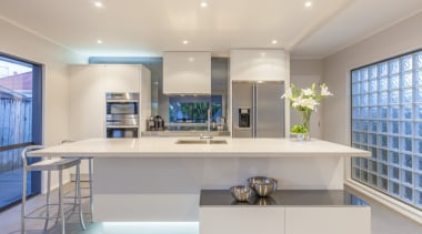 Existing glass blocks are given a new lease architecture, countertop, interior design, kitchen, real estate, gray