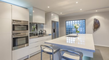 Cantilevered servery/benchtop for eating - countertop | interior countertop, interior design, kitchen, real estate, gray