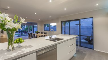 View to dining from kitchen - countertop | countertop, estate, interior design, kitchen, property, real estate, room, gray