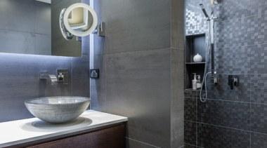 Bathroom Vanities - architecture | bathroom | bathroom architecture, bathroom, bathroom accessory, floor, interior design, room, sink, tile, gray, black