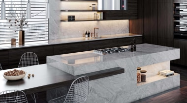Dekton Kitchen – Sogne - architecture | building architecture, building, countertop, floor, flooring, furniture, home, house, interior design, kitchen, living room, marble, material property, property, room, table, tile, wall, black, gray, white