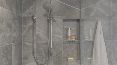 A ceiling-mounted shower head is a pleasure to architecture, bathroom, floor, interior design, limestone, marble, plumbing fixture, property, room, shower, shower panel, tile, wall, gray