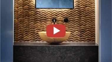 Davinia Sutton Powder Room video button - brick brick, floor, flooring, metal, pattern, room, tile, wall, brown