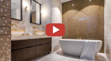 Davinia Sutton TIDA Bathroom video button - architecture architecture, bathroom, bathtub, beige, building, ceiling, ceramic, floor, flooring, interior design, marble, material property, plumbing fixture, property, real estate, room, tile, wall, gray, brown