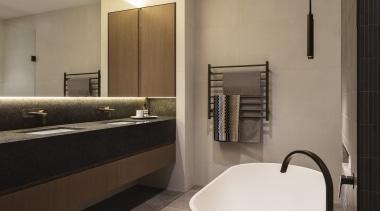 Hillam Architects – Highly Commended – TIDA Australia architecture, bathroom, floor, flooring, interior design, plumbing fixture, real estate, room, sink, tile, gray